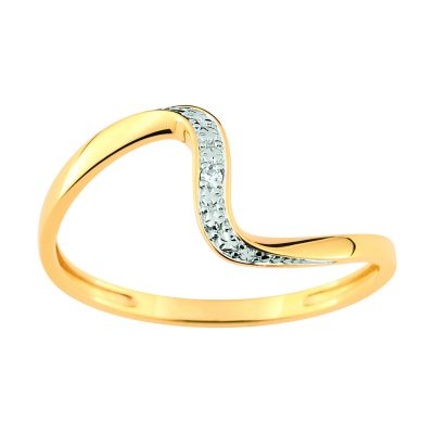 Bague alliance fantaisie diamants sur or jaune