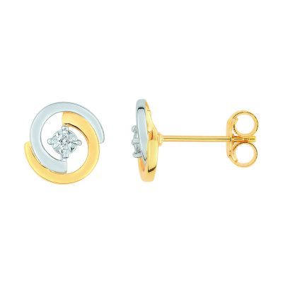 Boucles d'oreilles diamants sur or bicolore