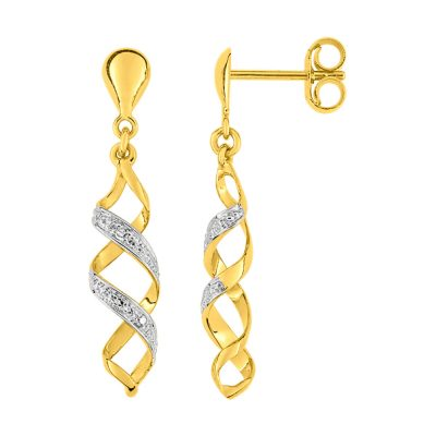 Boucles d'oreilles pendantes diamants sur or bicolore