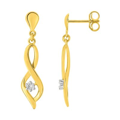 Boucles d'oreilles diamants sur or jaune