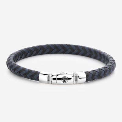Absolutely Leather – Half Round Braided Black Blue